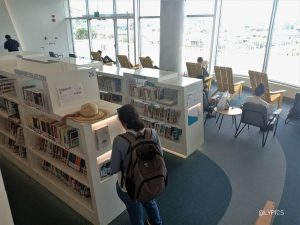 neat and nice racks of book at Library@Harbourfront Singapore