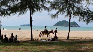 scenery of beautiful Samila Beach at Songkhla Hat Yai Thailand