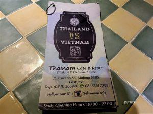 The menus at  ThaiNam Malang East Java Indonesia